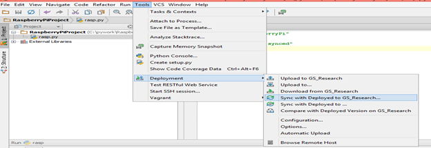 Remote Programming of Raspberry Pi using PyCharm - Software